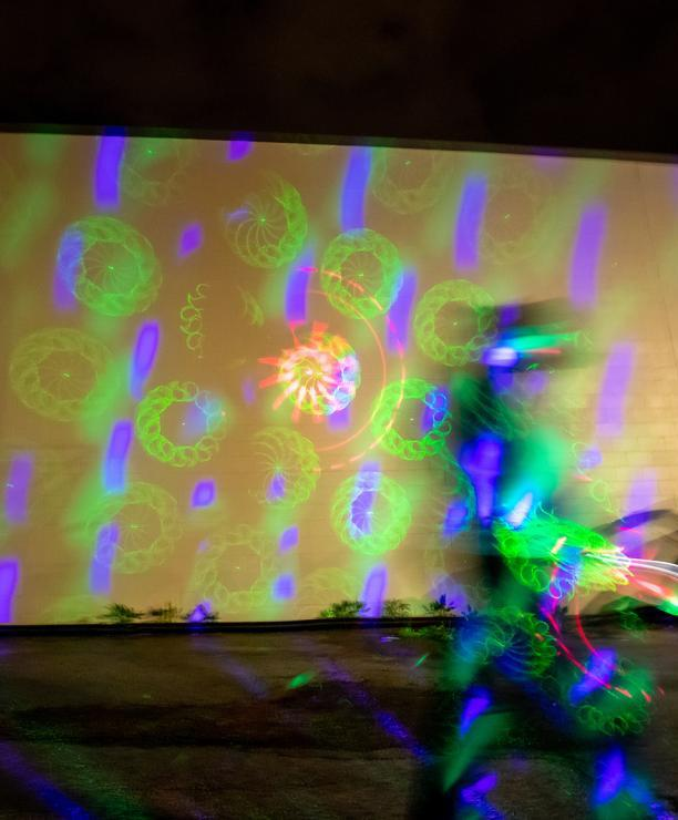 An art exhibit at the Cedar Valley Illuminate Arts and Light Festival