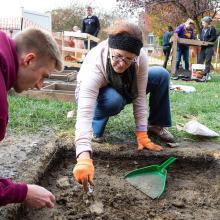 University of Northern Iowa students excavate a part of campus for an archaeology class.