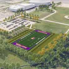 A rendering of a new practice football field.