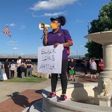UNI student Joyce Levingston leads a Black Lives Matter protest.