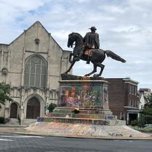A Confederate monument