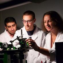 UNI graduating senior Joseph Tibbs works in the lab.
