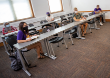 UNI students in classroom social distanced