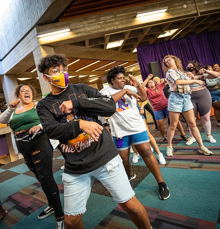 Students dance during Welcome Week.